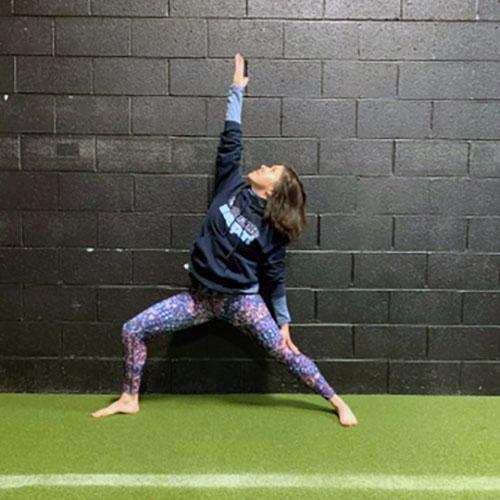 christina doing yoga